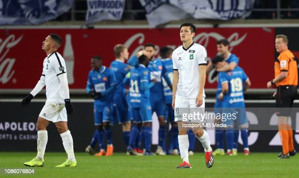 Naomichi Ueda of Cercle looks dejected during the Jupiler Pro League match between KAA Gent and Cercle Brugge KSV at Ghelamco Arena on December 21...