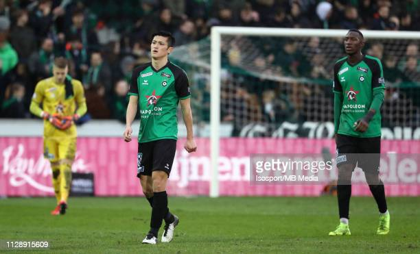 Naomichi Ueda of Cercle looks dejected during the Jupiler Pro League match between Cercle Brugge KSV and Club Brugge at Jan Breydel Stadium on...