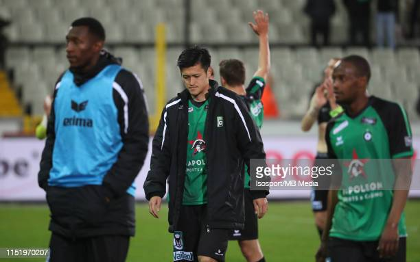 Naomichi Ueda of Cercle looks dejected during the Jupiler Pro League playoff 2 group B match between Cercle Brugge and Royal Excel Mouscron on May 14...