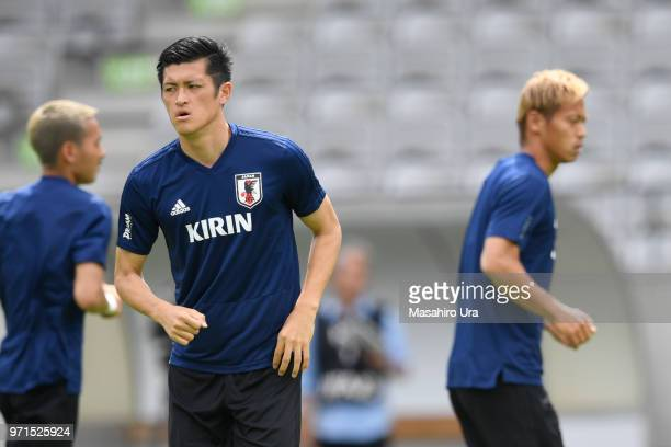 Naomichi Ueda of Japan in action during a training session ahead of the international friendly match between Japan and Paraguay at Tivoli Stadion on...