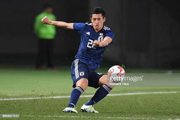 Naomichi Ueda of Japan in action during the EAFF E1 Men's Football Championship between Japan and China at Ajinomoto Stadium on December 12 2017 in...
