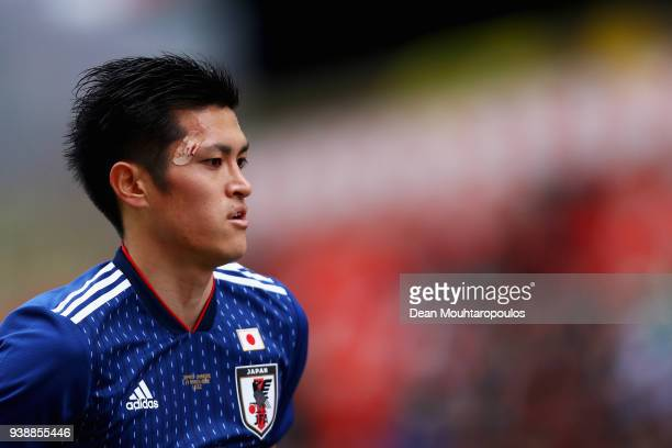 Naomichi Ueda of Japan in action during the International friendly match between Japan and Ukraine held at Stade Maurice Dufrasne on March 27 2018 in...