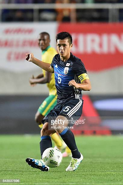 Naomichi Ueda of Japan in action during the U23 international friendly match between Japan and South Africa at the Matsumotodaira Football Stadium on...