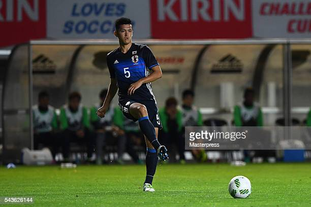 Naomichi Ueda of Japan in action during the U23 international friendly match between Japan v South Africa at the Matsumotodaira Football Stadium on...