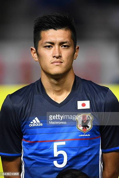 Naomichi Ueda of Japan looks on prior to the U23 international friendly match between Japan v South Africa at the Matsumotodaira Football Stadium on...