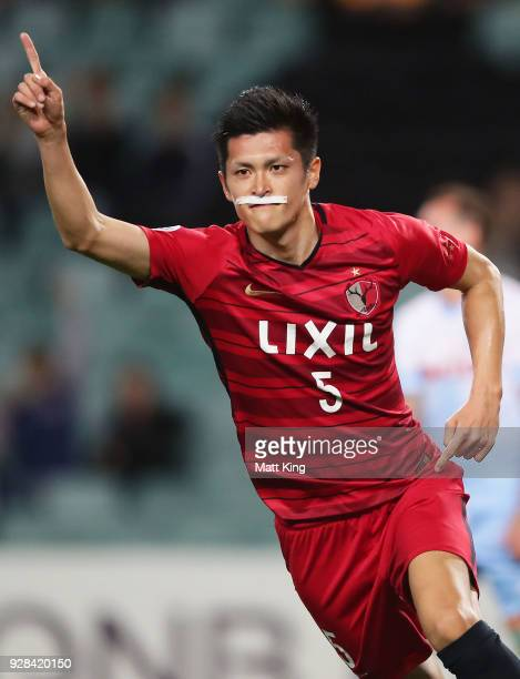 Naomichi Ueda of Kashima Antlers celebrates scoring a goal during the AFC Asian Champions League match between Sydney FC and Kashima Antlers at...
