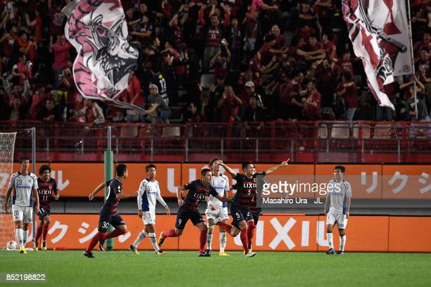 Naomichi Ueda of Kashima Antlers celebrates scoring his side's second goal during the JLeague J1 match between Kashima Antlers and Gamba Osaka at...