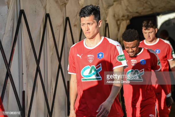 Naomichi UEDA of Nimes during the French Cup match between Nimes and Nice at Stade des Costieres on February 10, 2021 in Nimes, France.