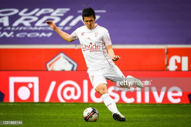 Naomichi UEDA of Nimes during the Ligue 1 match between Lille OSC and Nimes Olympique at Stade Pierre Mauroy on March 21, 2021 in Lille, France.