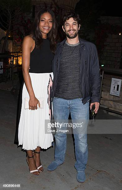 Naomie Harris and Adam Garcia attend the Croatia 'Full of Life' floating island party on London's River Thames on Butler's Wharf on October 1 2015 in...