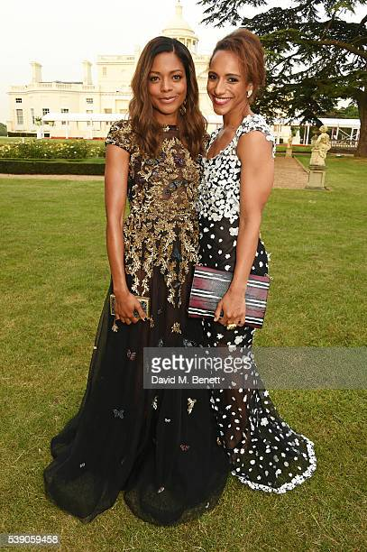 Naomie Harris and Afua Hirsch attend the Duke of Edinburgh Award 60th Anniversary Diamonds are Forever Gala at Stoke Park on June 9 2016 in Guildford...
