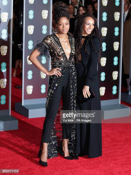 Naomie Harris and Afua Hirsch attending the EE British Academy Film Awards held at the Royal Albert Hall Kensington Gore Kensington London PRESS...