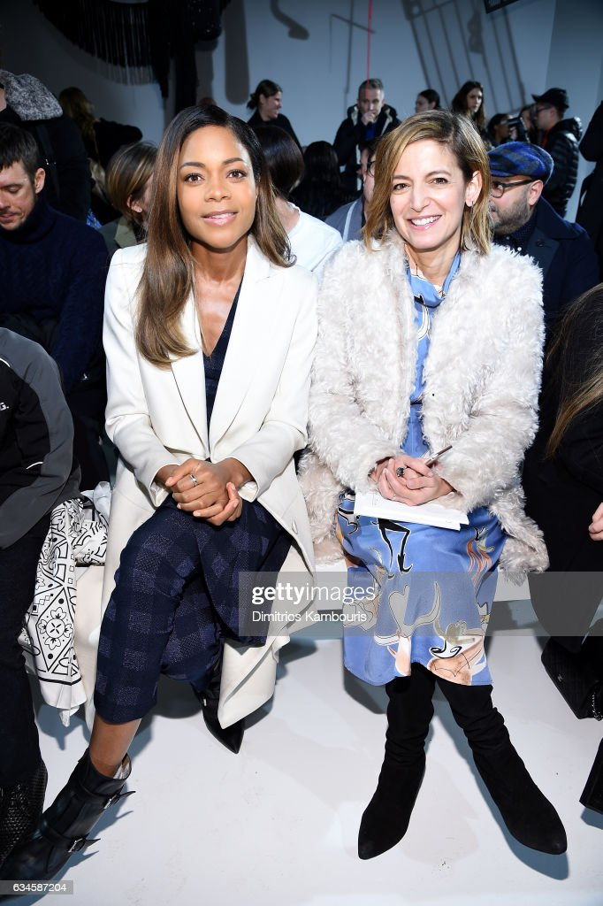 Naomie Harris (L) and Cindy Levy attend the Calvin Klein Collection Front Row during New York Fashion Week on February 10, 2017 in New York City.