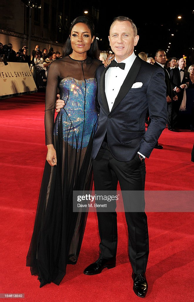 Naomie Harris (L) and Daniel Craig attend the Royal World Premiere of 'Skyfall' at the Royal Albert Hall on October 23, 2012 in London, England.