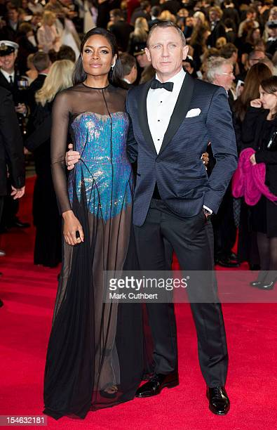 Naomie Harris and Daniel Craig attend the Royal World Premiere of 'Skyfall' at Royal Albert Hall on October 23 2012 in London England