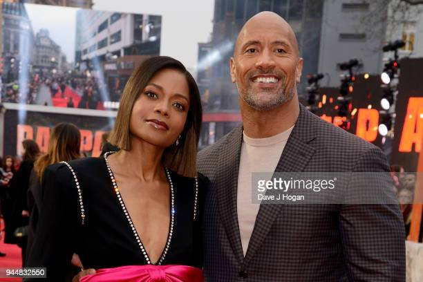 Naomie Harris and Dwayne Johnson attend the European Premiere of 'Rampage' at Cineworld Leicester Square on April 11 2018 in London England