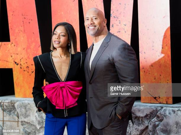 Naomie Harris and Dwayne Johnson attend the European Premiere of 'Rampage' at Cineworld Leicester Square on April 11, 2018 in London, England.