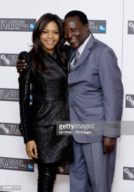 Naomie Harris and Oliver Litondo at a photocall for the film The First Grader at the Vue Cinema London during the 54th BFI London Film Festival