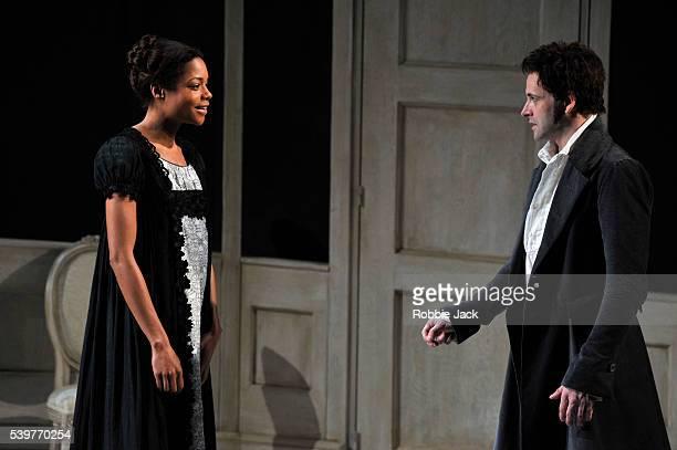 Naomie Harris as Elizabeth Lavenza and Jonny Lee Miller as Victor Frankenstein in the National Theatre's production of Nick Dear's 'Frankenstein'...
