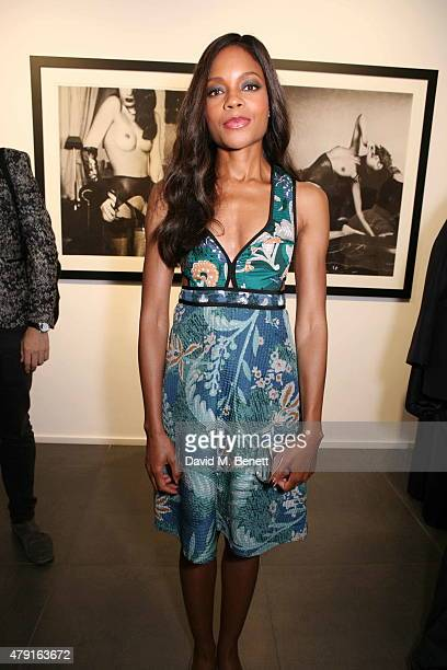 Naomie Harris attends a private view of 'Raw Footage' at The Opera Gallery on July 1 2015 in London England