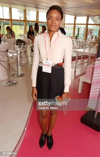 Naomie Harris attends the evian Live Young suite on the opening day of Wimbledon at the All England Lawn Tennis and Croquet Club on June 23 2014 in...