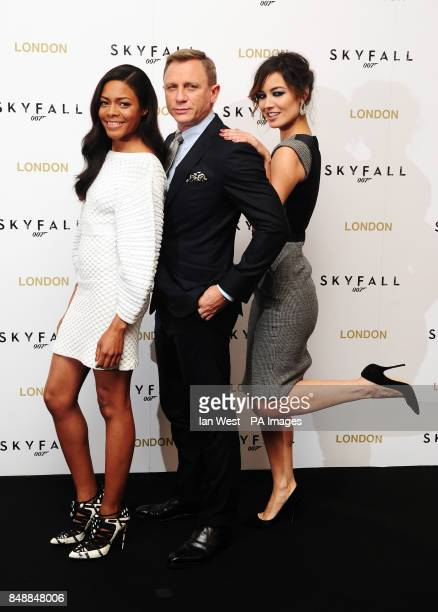 Naomie Harris Daniel Craig and Berenice Malohe at a photocall for new James Bond film Skyfall at the Dorchester hotel in London