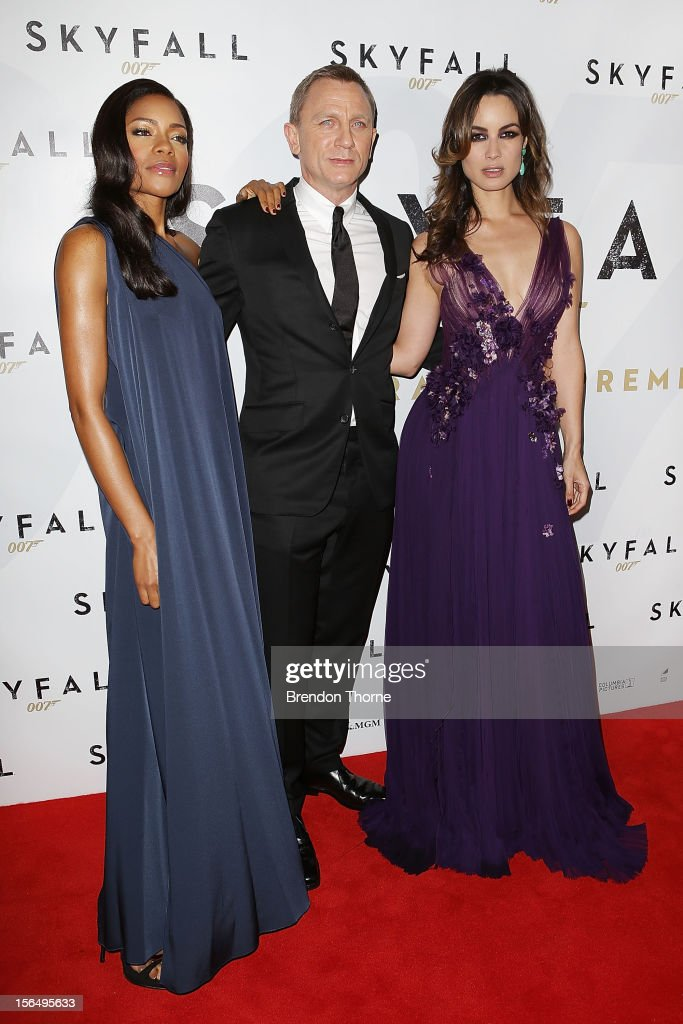 Naomie Harris, Daniel Craig and Berenice Marlohe arrive at the 'Skyfall' Australian premiere at the State Theatre on November 16, 2012 in Sydney, Australia.