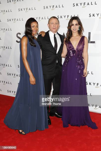 Naomie Harris Daniel Craig and Berenice Marlohe arrive at the Skyfall Australian premiere at the State Theatre on November 16 2012 in Sydney Australia