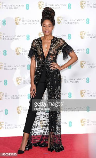 Naomie Harris poses in the press room during the EE British Academy Film Awards held at the Royal Albert Hall on February 18 2018 in London England