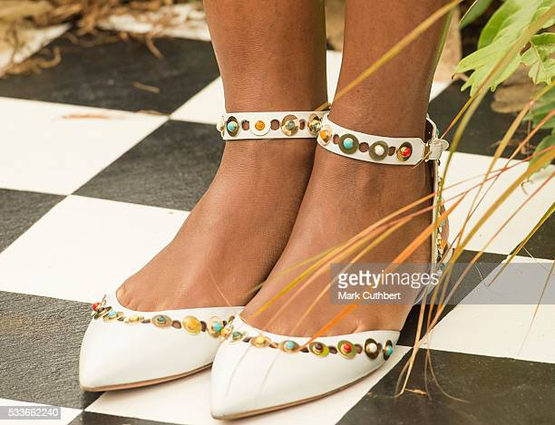 Naomie Harris shoe detail attends Chelsea Flower Show press day at Royal Hospital Chelsea on May 23 2016 in London England The show which has run...
