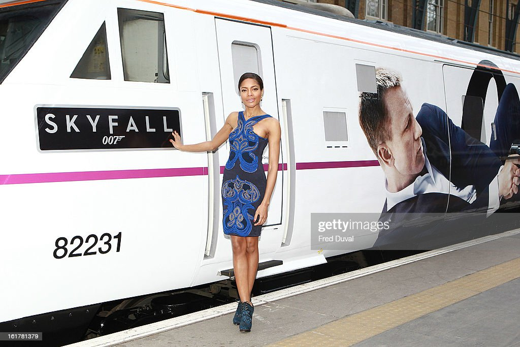 Naomie Harris unveils Skyfall Train at Kings Cross Station on February 16, 2013 in London, England.