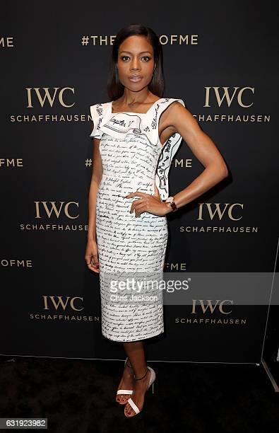Naomie Harris visits the IWC booth during the launch of the Da Vinci Novelties from the Swiss luxury watch manufacturer IWC Schaffhausen at the Salon...