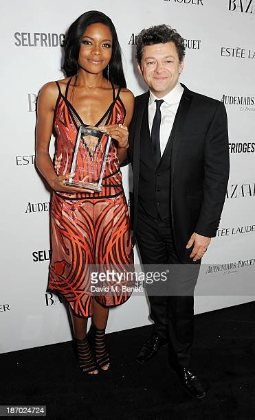 Naomie Harris winner of the British Actress of the Year award and Andy Serkis attend the Harper's Bazaar Women of the Year awards at Claridge's Hotel...