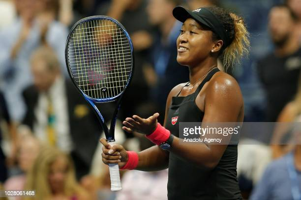 Naomi Osaka of Japan celebrates her win against Madison Keys of USA in US Open 2018 women's singles semifinal match on September 6 2018 in New York...