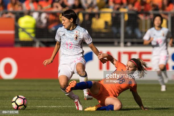 Naomoto Hikaru of Japan Jacky Groenen of the Netherlandsduring the friendly match between the women of The Netherlands and Japan at the Rat Verlegh...
