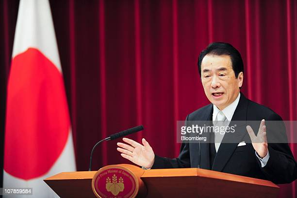 Naoto Kan Japan's prime minister gestures during a New Year news conference at his official residence in Tokyo Japan on Tuesday Jan 4 2011 Kan said...