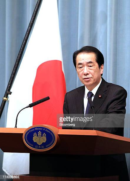 Naoto Kan Japan's prime minister speaks during a news conference at the prime minister's official residence in Tokyo Japan on Tuesday May 10 2011 Kan...
