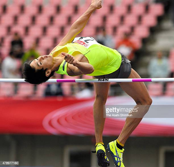 Naoto Tobe competes in the Men's High Jump during day two of the 99th Japan Athletics National Championships at Denka Big Swan Stadium on June 27...