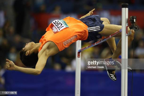 Naoto Tobe of Japan on his way to victory in the men's high jump during the Muller Indoor Grand Prix IAAF World Indoor Tour event at Arena Birmingham...