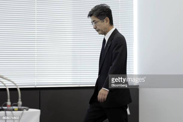 Naoto Umehara executive vice president of Kobe Steel Ltd arrives for a news conference in Tokyo Japan on Monday Oct 30 2017 Kobe Steel withdrew its...