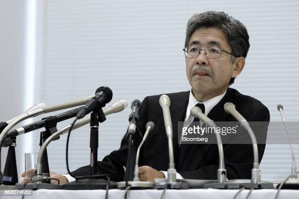 Naoto Umehara executive vice president of Kobe Steel Ltd listens during a news conference in Tokyo Japan on Monday Oct 30 2017 Kobe Steel withdrew...