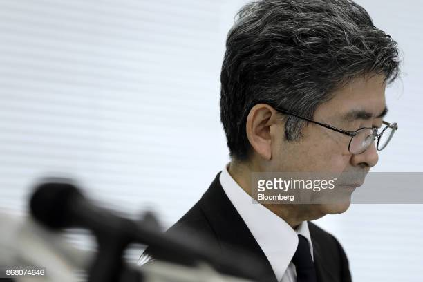 Naoto Umehara executive vice president of Kobe Steel Ltd pauses during a news conference in Tokyo Japan on Monday Oct 30 2017 Kobe Steel withdrew its...