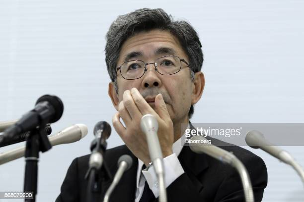 Naoto Umehara executive vice president of Kobe Steel Ltd reacts during a news conference in Tokyo Japan on Monday Oct 30 2017 Kobe Steel withdrew its...