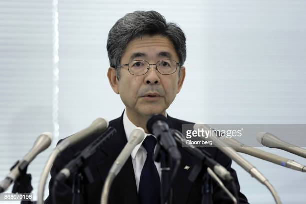 Naoto Umehara executive vice president of Kobe Steel Ltd speaks during a news conference in Tokyo Japan on Monday Oct 30 2017 Kobe Steel withdrew its...