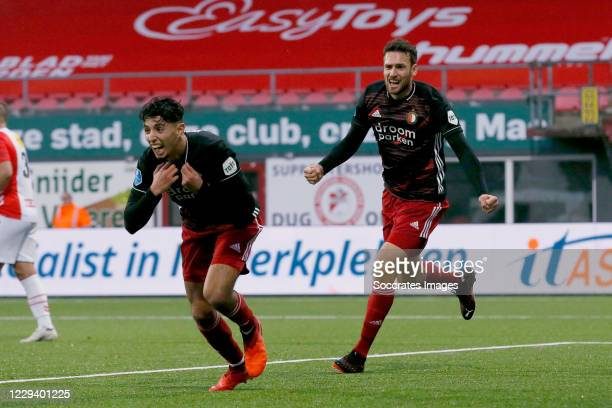 Naoufal Bannis of Feyenoord celebrates 23 with Eric Botteghin of Feyenoord during the Dutch Eredivisie match between FC Emmen v Feyenoord at the De...