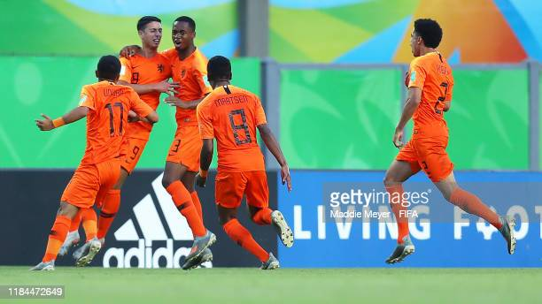 Naoufal Bannis of Netherlands celebrates with teammates after scoring a goal during the FIFA U17 World Cup Brazil 2019 group D match between...