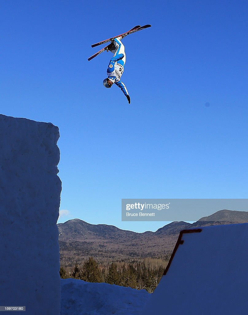 Naova Tabara #16 of Japan practices prior to the USANA Freestyle World Cup aerial competition at the Lake Placid Olympic Jumping Complex on January 18, 2013 in Lake Placid, New York.