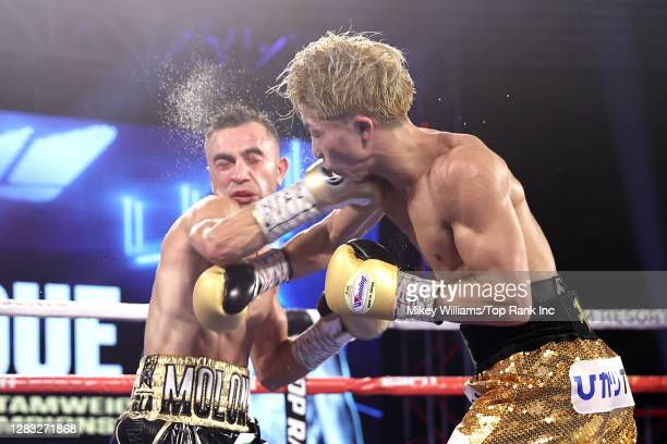 Naoya Inoue and Jason Moloney exchange punches during their bantamweight title bout at MGM Grand Conference Center on October 31, 2020 in Las Vegas,...