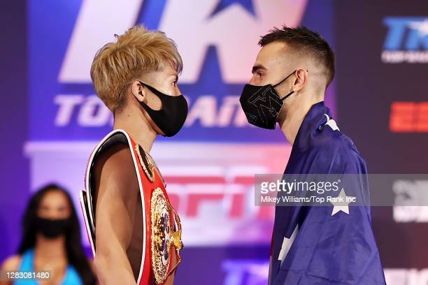 Naoya Inoue and Jason Moloney face off during the weigh in ahead of their bantamweight title bout at at MGM Grand Conference Center on October 30,...