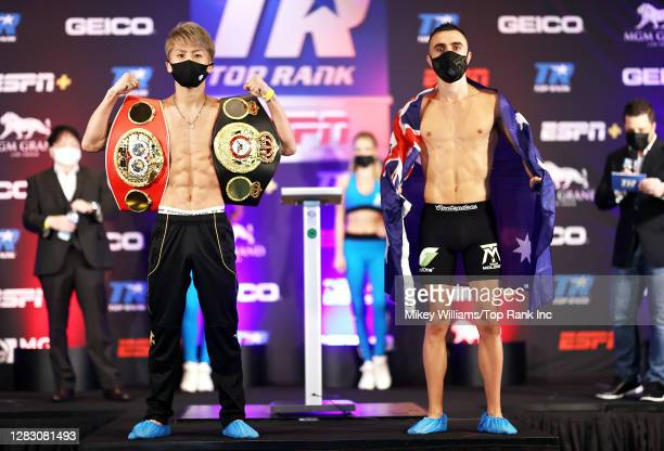 Naoya Inoue and Jason Moloney pose during the weigh in ahead of their bantamweight title bout at MGM Grand Conference Center on October 30, 2020 in...
